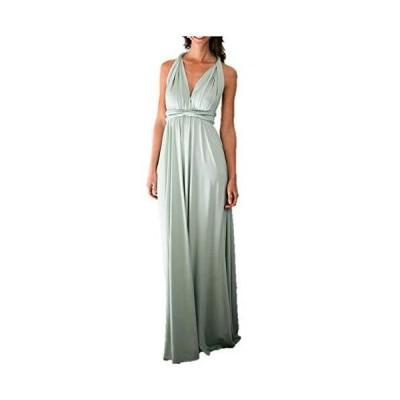 C&(シーアンド) ブライズメイド ドレス 美シルエット ロング パーティー 結婚式 レディース (スモーキーグリーン)