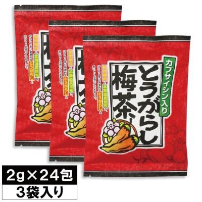 【期間限定SALE】とうがらし梅茶-2g×24袋×3セット- 送料無料 梅 とうがらし 茶 昆布茶