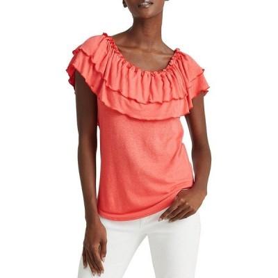 ラルフローレン レディース Tシャツ トップス Petite Size Linen-Blend Layered Ruffle Off-The-Shoulder Top Island Hibiscus