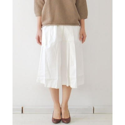 BROCANTE ブロカント DMG レディース ドミンゴ 高密度キャバ フランセーズスカート 37-093T(ホワイトのみ) タックギャザースカート 膝丈 日本製