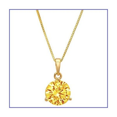 Clara Pucci 2.1 ct Round Cut Stunning Genuine Flawless Natural Yellow Citrine Gemstone 3-prong Martini Style Solitaire Pendant Necklace With