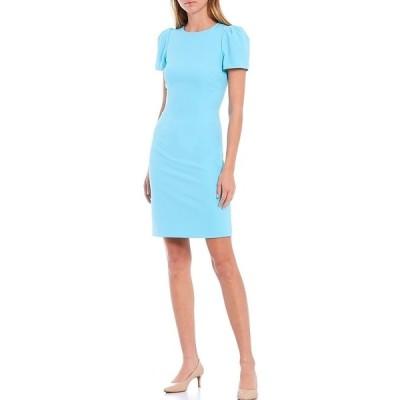 アントニオメラニー レディース ワンピース トップス Diem Stretch Crepe Ruched Sleeve Sheath Dress Baby Blue