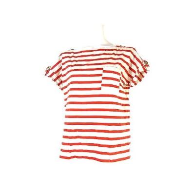 【中古】グリーンレーベルリラクシング ユナイテッドアローズ Tシャツ カットソー ボーダー 半袖 丸首 コットン 赤 白 トップス レディース 【ベクトル 古着】
