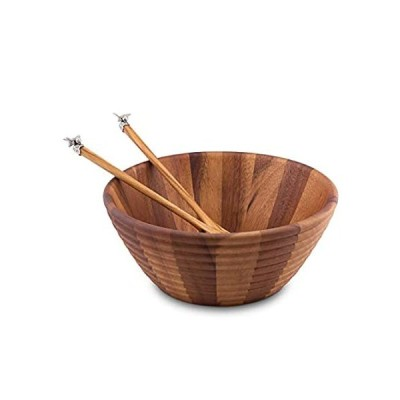 Vagabond House Bee Hive Shaped Wood Salad Bowl and Server with Pewter Bee A好評販売中