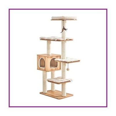 ZRONGQF Cat Activity Trees Cat Tower Cat Climbing Frame Wood Cat Tree Tower Multi-Layer Cat Resting Place Comfortable Pet Activity Centre Fo