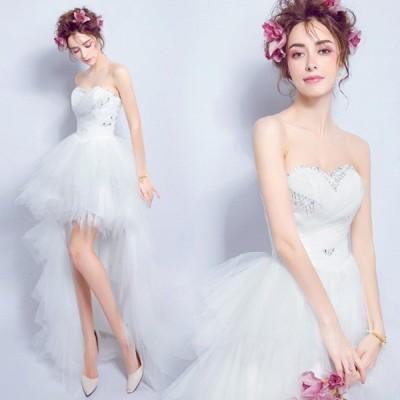ウエディングドレス 二次会 ミニ ドレス エンパイアドレス 花嫁 編み上げタイプ プリンセスドレス  ミニドレス  パーティードレス・忘年会・結婚式