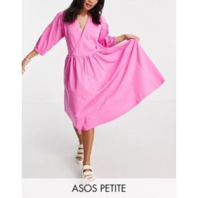 エイソス レディース ワンピース トップス ASOS DESIGN Petite midi smock dress with wrap top in pink Pink