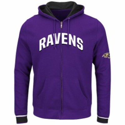 Majestic マジェスティック スポーツ用品  Majestic Baltimore Ravens Purple Anchor Point Full-Zip Hoodie