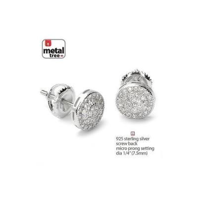 イヤリング メタルツリー Men's 925 Silver Micro Pave Double Round Screw Back Stud Hip Hop Earrings 452 S
