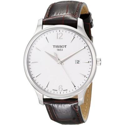 [ティソ] 腕時計 トラディション クォーツ シルバー文字盤 レザー T0636101603700 メンズ 正規輸入品 ブラウン 並行輸入品