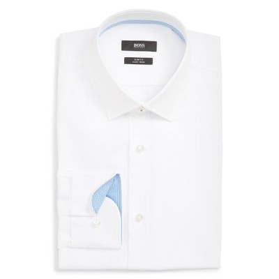 ボス シャツ トップス メンズ Jesse Slim Fit Easy Iron Solid Dress Shirt White