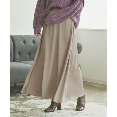 スカート サテンフレアロングスカート