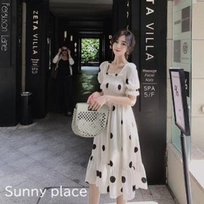 韓国 ワンピース 春 夏 カジュアル シアー ポルカドット バックリボン Aライン 20代 30代 40代 スクエアネック パフスリーブ 五分袖 半袖