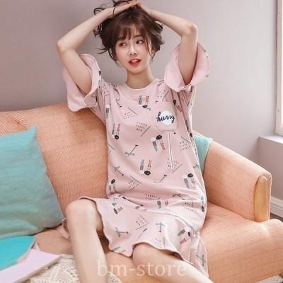 ネグリジェパジャマレディースルームウェアワンピース寝間着綿100%マタニティキュートピンク綿