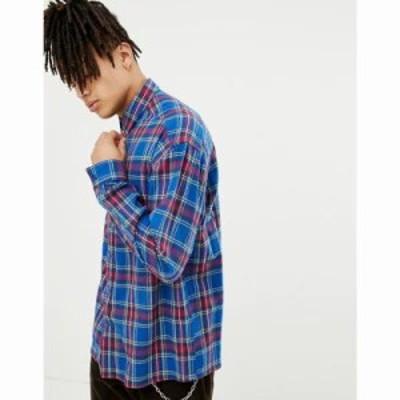 エイソス シャツ oversized boxy check shirt in blue with poppers Blue