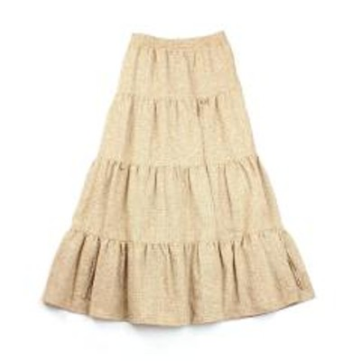 STOCK&INTELLIGENCEリムアーク ロングスカート ティアードスカート ツイードスカート Basket tweed gradually SK RIM.ARK 460DSL31-0230 38(M) オレンジ(130)