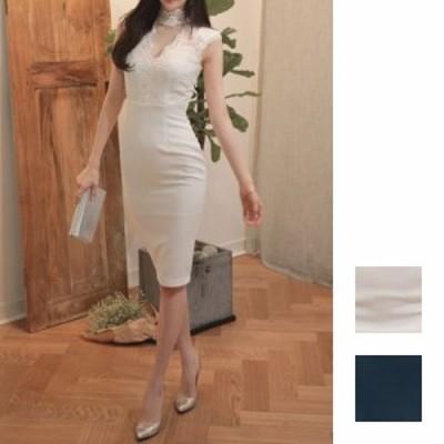 韓国 ファッション レディース ワンピース パーティードレス ひざ丈 ミディアム 春 夏 新作 パーティー ブライダル naloA586 結婚式 お呼