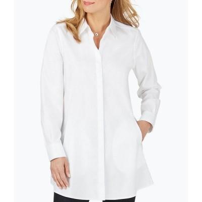 フォックスクラフト レディース カットソー トップス Cici Solid Non-Iron Pinpoint Oxford Long Sleeve Button Front Tunic White