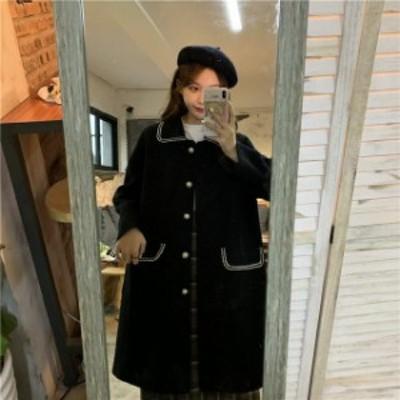 アウター レディース コート ジャケット ロングコート ロング丈 襟付き フロントボタン ポケット シンプル ベーシック カジュアル 大人カ