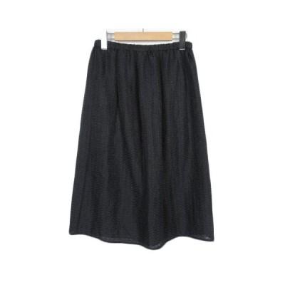 【中古】エル ELLE スカート フレア ジャガード 刺繍 シフォン 38 黒 ブラック レディース 【ベクトル 古着】
