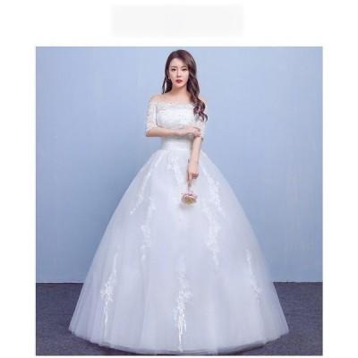 花嫁ドレスウェディングドレス二次会ウエディングドレス編み上げレース刺繍二次会ドレスロングドレス花嫁ドレスベアトップビスチェ