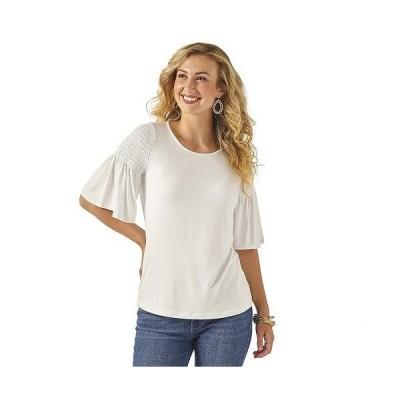 Wrangler ラングラー レディース 女性用 ファッション ブラウス 3/4 Sleeve Smock Shoulder Knit - White