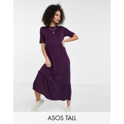 エイソス ASOS Tall レディース ワンピース Aライン ワンピース・ドレス Asos Design Tall Tiered Smock T-Shirt Midi Dress In Dark Purple ダークパープル