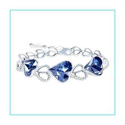 【新品】missaqua Womens Bracelet with Swarovski Crystals September Birthstone Heart Charm Blue Elegant Bracelet Jewelry Gifts(並行輸入品)