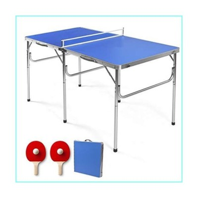 GYMAX Indoor Table Tennis Table Set, Folding Ping Pong Table with Net, 2 Paddles & 2 Balls, Multipurpose Free Standing Table Tennis Table Ki