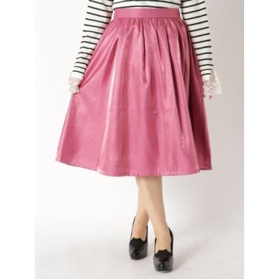 【大きいサイズ】【L-3L】シャイニー素材ミモレ丈スカート 大きいサイズ スカート レディース
