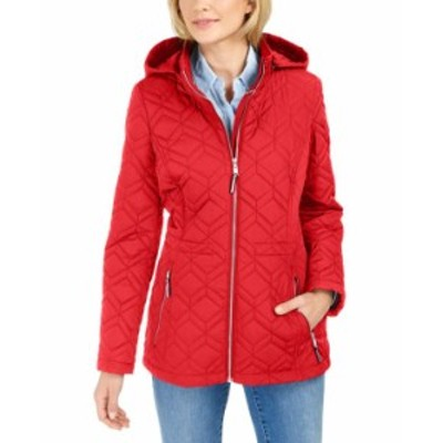 トミー ヒルフィガー レディース コート アウター Hooded Rain-Resistant Quilted Jacket Crimson