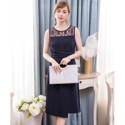 【ドレス スター】 クロス切替レースドレス・結婚式ワンピース・お呼ばれパーティードレス レディース ネイビー XLサイズ DRESS STAR