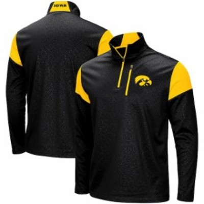 Colosseum コロセウム スポーツ用品  Colosseum Iowa Hawkeyes Black Luge Quarter-Zip Pullover Jacket