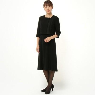 フォーマル レディース 喪服 礼服 ブラックフォーマル スーツ ブラックフォーマルデザインワンピース 「ブラック」
