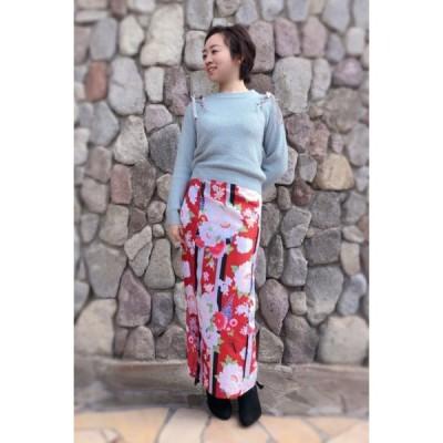 今だけ激安!和柄 巻きスカート ロングタイプ 花柄 和風 ラップスカート 彩ぼたん 赤色