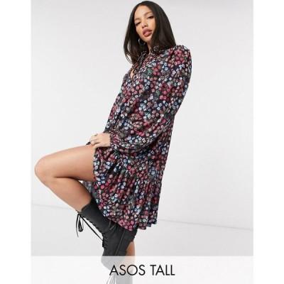 エイソス ASOS Tall レディース ワンピース ミニ丈 Asos Design Tall Mini Smock Dress With Pep Hem And Tie Neck Detail In Black Pink And Blue Floral