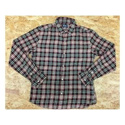 TK TAKEO KIKUCHI タケオキクチ サイズ3 メンズ クレープシャツ チェック柄 ドットボタン 胸ポケット付き 長袖 ポリ×綿 赤×黒×黄色