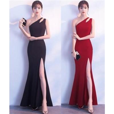 ロングドレス キャバドレス シックなデザインにエレガントでセクシーなワンショルダーデザインロングドレス フォーマルドレス