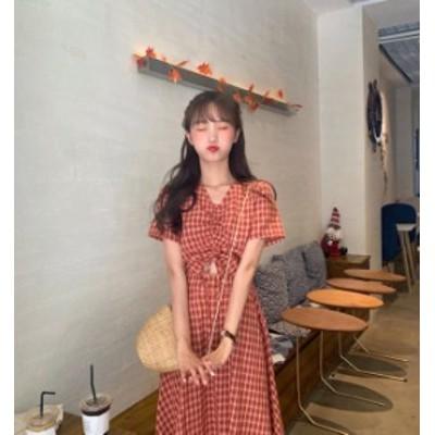 韓国 ファッション レディース ワンピース ロング ワンピ チェック Vネック ハイウエスト 肌見せ リボン 半袖 ゆったり セクシー ガーリ