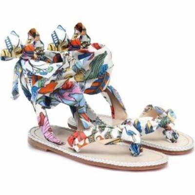 クリスチャン ルブタン Christian Louboutin レディース サンダル・ミュール シューズ・靴 Spetsos silk and leather sandals Bianco Mul