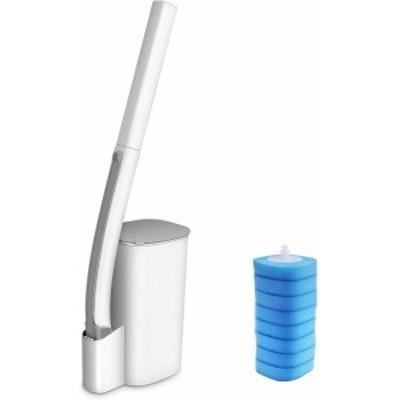 トイレブラシ トイレクリーナー 本体 流せるトイレブラシ 取替8個 トイレ掃除用品 収納簡単 ホワイト