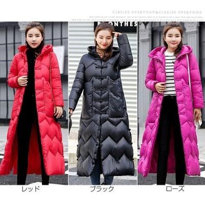 コート レディース 中綿 冬 新作 ロング丈 大きいサイズ 中綿ジャケット  厚手 アウター フード付き