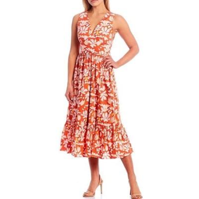 サーチンアンドバビ レディース ワンピース トップス Dany Floral Midi Dress Tangerine/Baby Pink