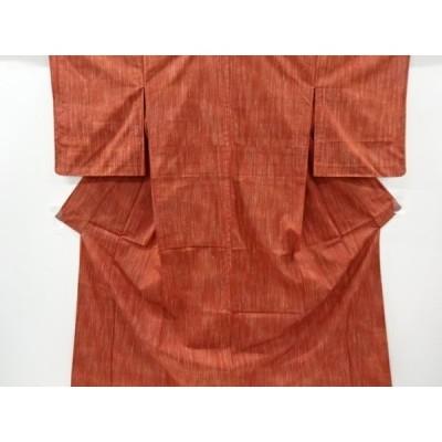 宗sou 未使用品 雨縞模様織り出し手織り節紬単衣着物【リサイクル】【着】