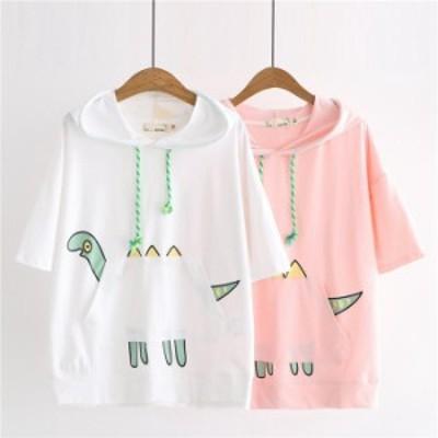 パーカー 女子高生 トップス フード付き 可愛い プルオーバー パーカー tシャツ レディース プリント トップス 夏服 半袖 学生 白 ホワイ