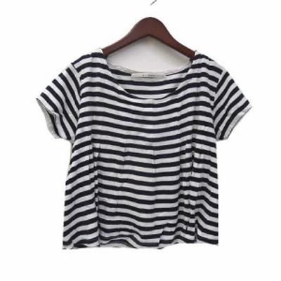 【中古】アーリーマジョリティ Tシャツ M ネイビー ホワイト ボーダー 半袖 フレア カットソー レディース