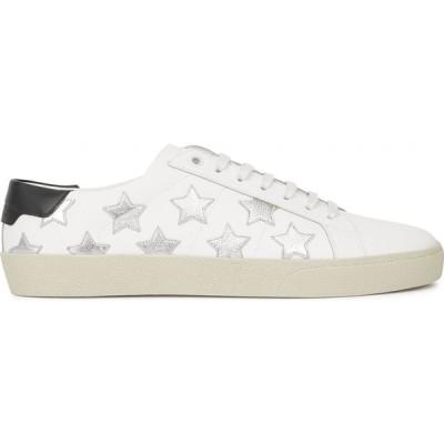 イヴ サンローラン Saint Laurent レディース スニーカー シューズ・靴 SL/06 white star-appliqued leather sneakers White