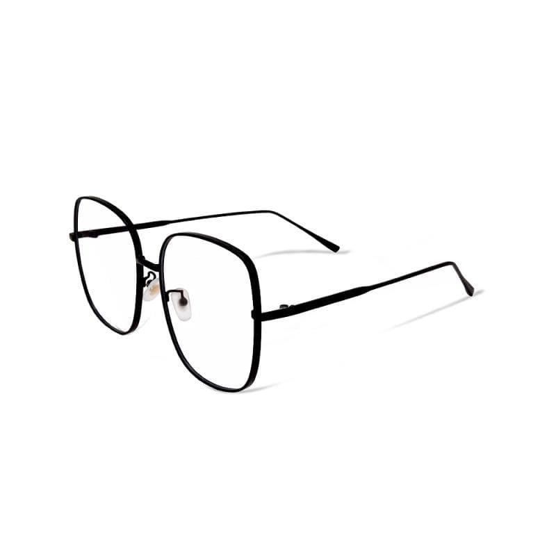 東大門的不夜未來│韓系潮流明星款簡約無限黑大方框UV400濾藍光眼鏡 無限黑