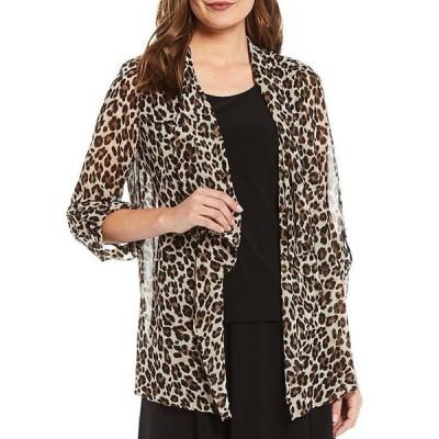 インベストメンツ レディース ジャケット・ブルゾン アウター Petite Size Soft Separates Long Sleeve Lush Leopard Print Open-Front Jacket