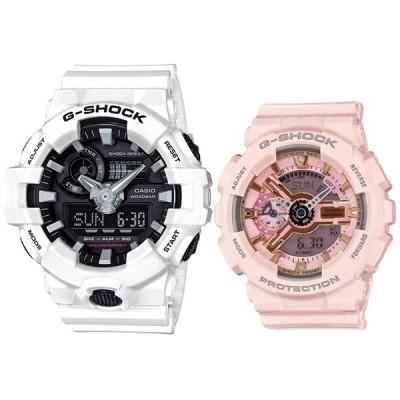 ペア ウォッチ ホワイト ピンク お揃い Gショック カシオ 腕時計 メンズ レディース ビッグケース Sシリーズ アナログ デジタル アナデジ